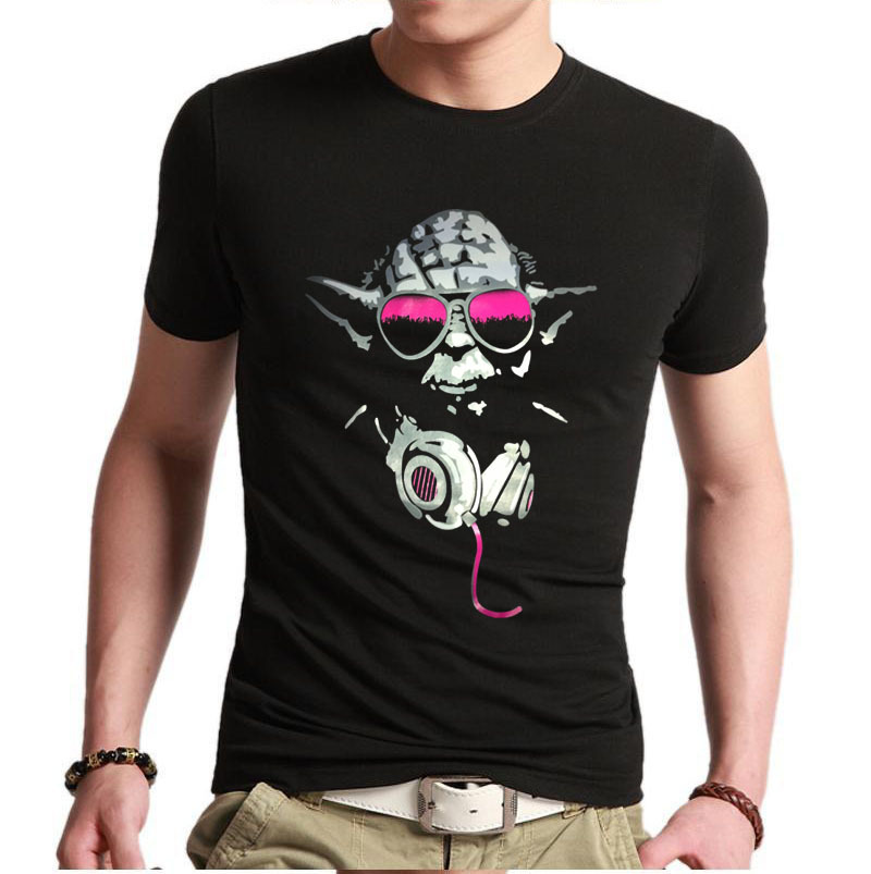 2015 hot great gift mens custom t shirts yoda cool dj hip. Black Bedroom Furniture Sets. Home Design Ideas