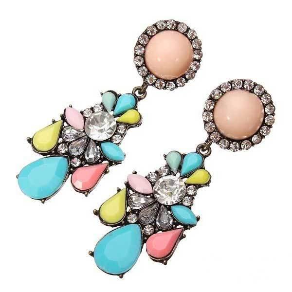 Balboawo Multicolor Crystal Flower Earrings Vintage Women Ear Stud(China (Mainland))