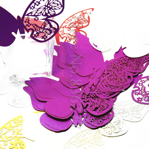 60pcs/Lot Laser Cut Butterfly Wine Glass Escort Place Card Wedding Favors And Gifts Birthday Party Decorations Kids Halloween(China (Mainland))