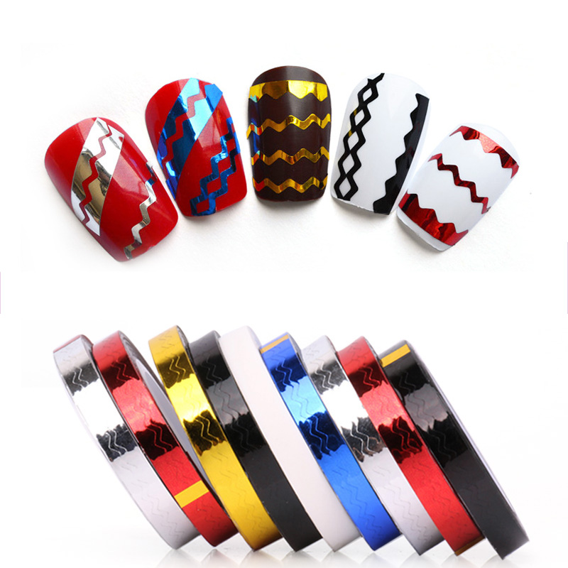 DIY Rolls Stripping Tape Waves Line Strips Nail Art Decals Wraps Tools Nail Art Stickers Roll Beauty Decor 2 Pcs Same Color(China (Mainland))