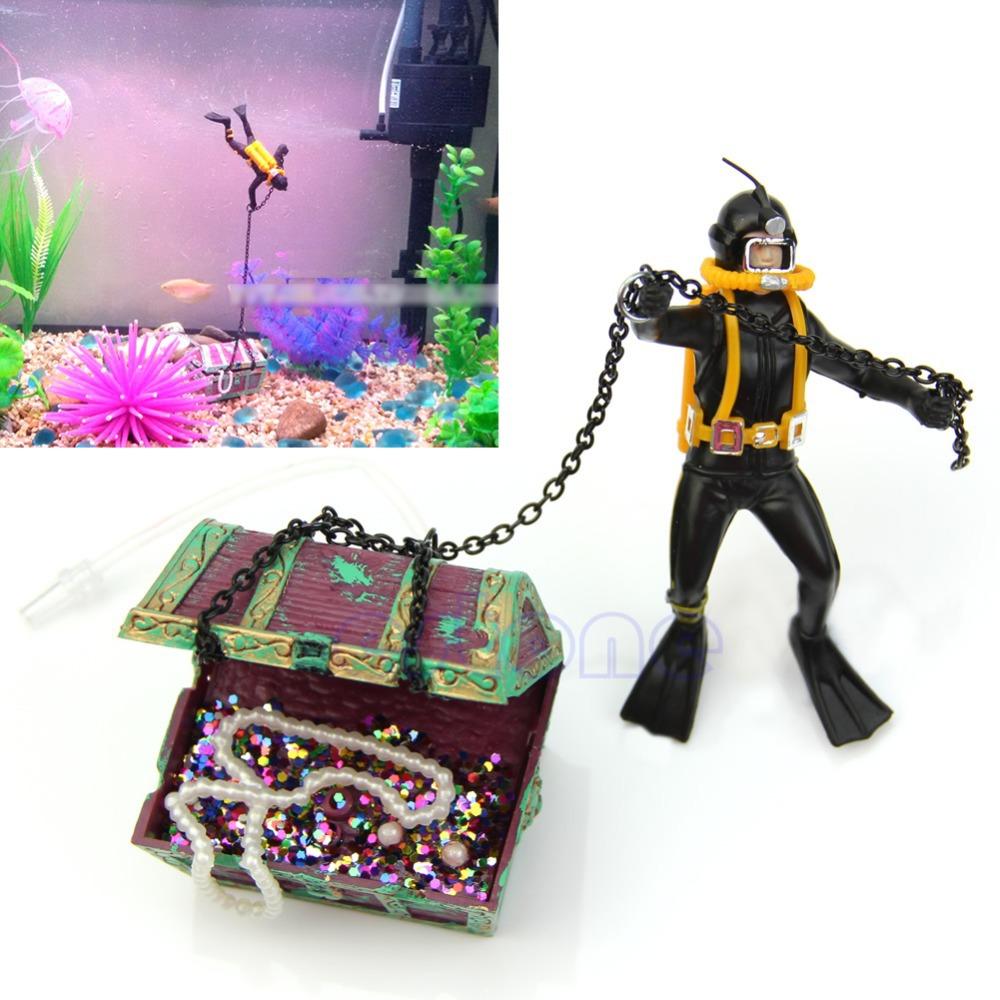 U119 Free Shipping Treasure Hunter Diver Action Figure Fish Tank Ornament Aquarium Decor Landscape<br><br>Aliexpress