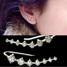 Top Quality New Four-prong Setting 7pcs Cz Diamonds 18k Gold Plated Ear Hook Stud Earrings Jewelry(China (Mainland))
