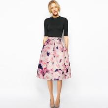High Waist Peach Print Pleated Skirt Womens European Brand Autumn Fashion Office Ladies Sexy