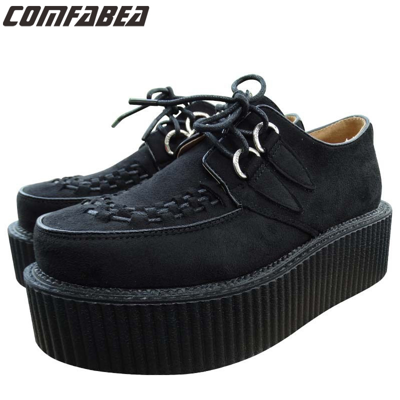 Womens Autumn Winter Classic Black Suede Lace Up Punk Goth Platform Studded Flat Creeper Shoes Women HARAJUKU Creepers shoe(China (Mainland))