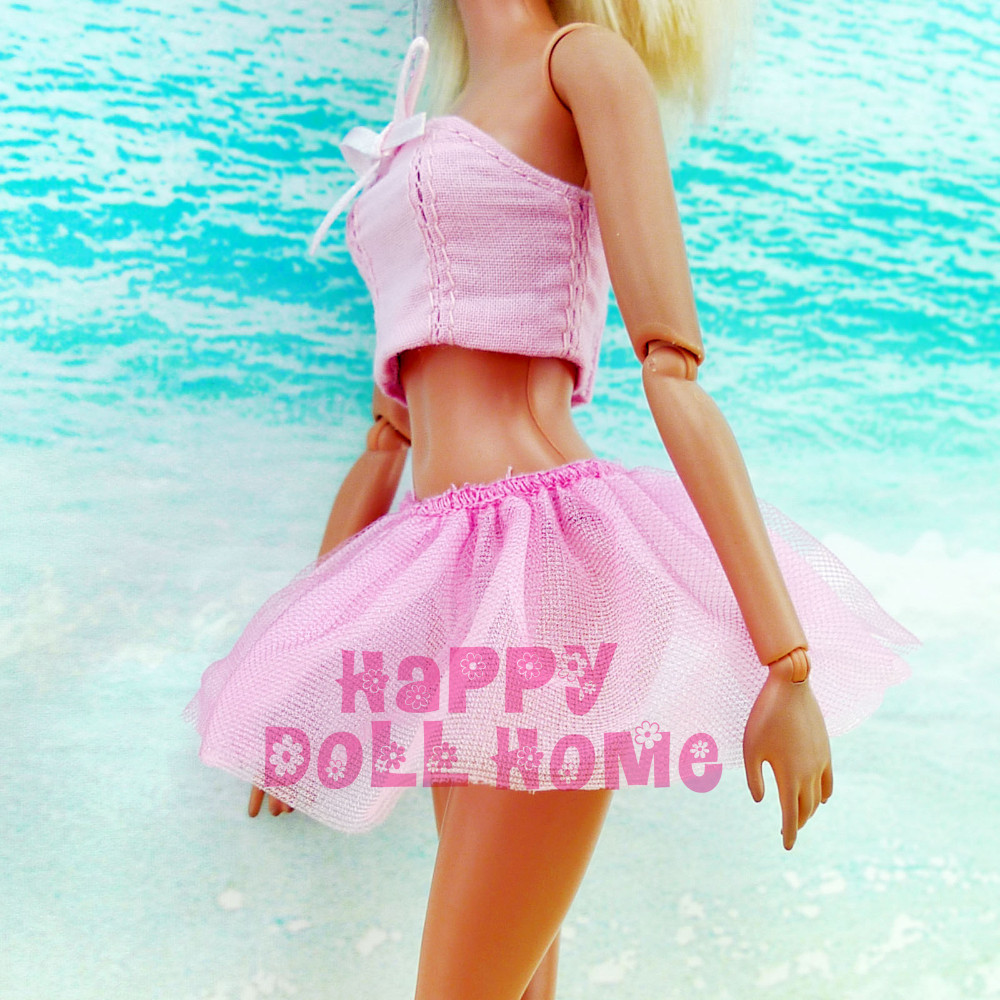 Summer season Strapless Tops + Skirt Dancing Ballet Outfit Sea Seashore Bathing Clothes Swimming Bikini Garments For Barbie Doll Toys Present