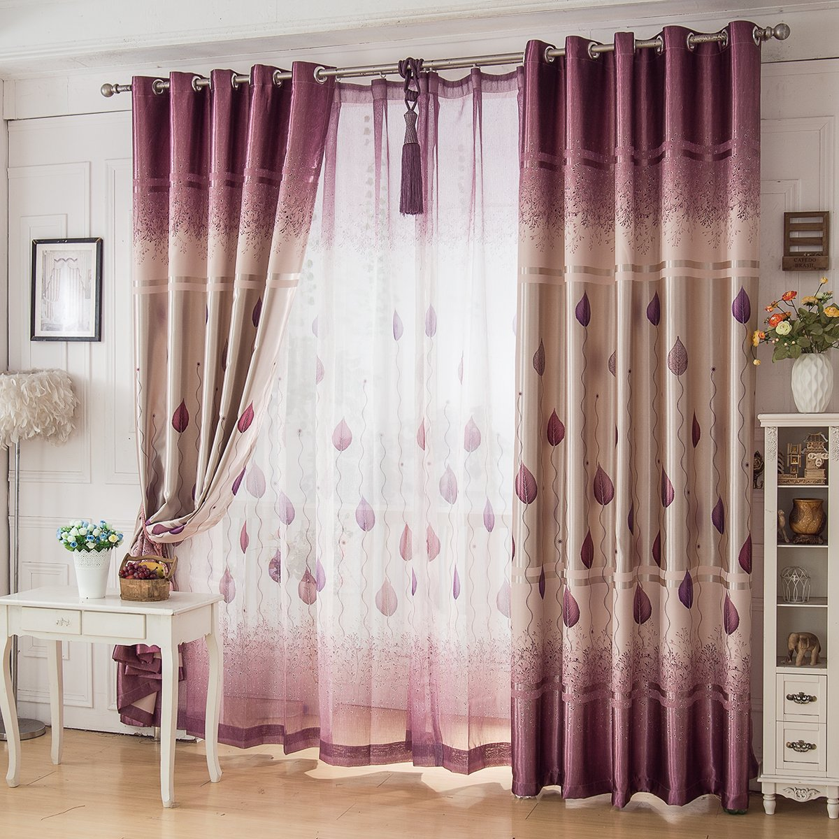 Purple Leaves Curtains For Bedroom Living Room Custom Elegent Blackout Cloth Fabric Cortinas