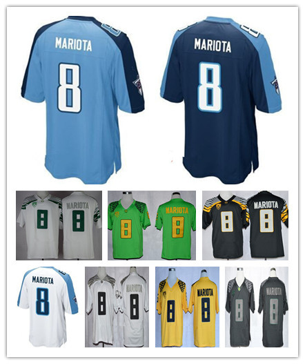 Men's 8 Tennessee Marcus Mariota Jersey Team Navy Blue White China Sport American Football Jersey Online Oregon Ducks Jerseys(China (Mainland))
