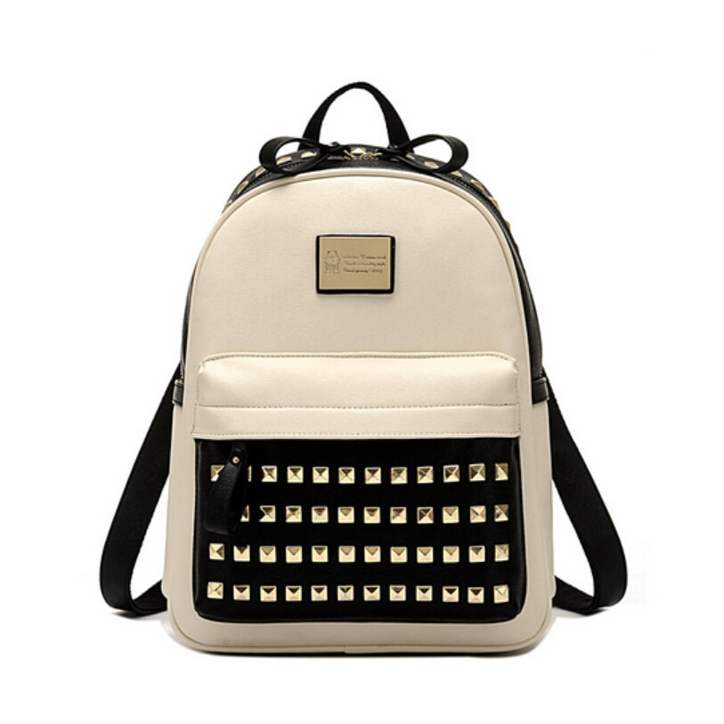 2016 new rivet bag womens leather backpack cool school bags for teenagers fashion backpack for girls beige back pack student bag<br><br>Aliexpress