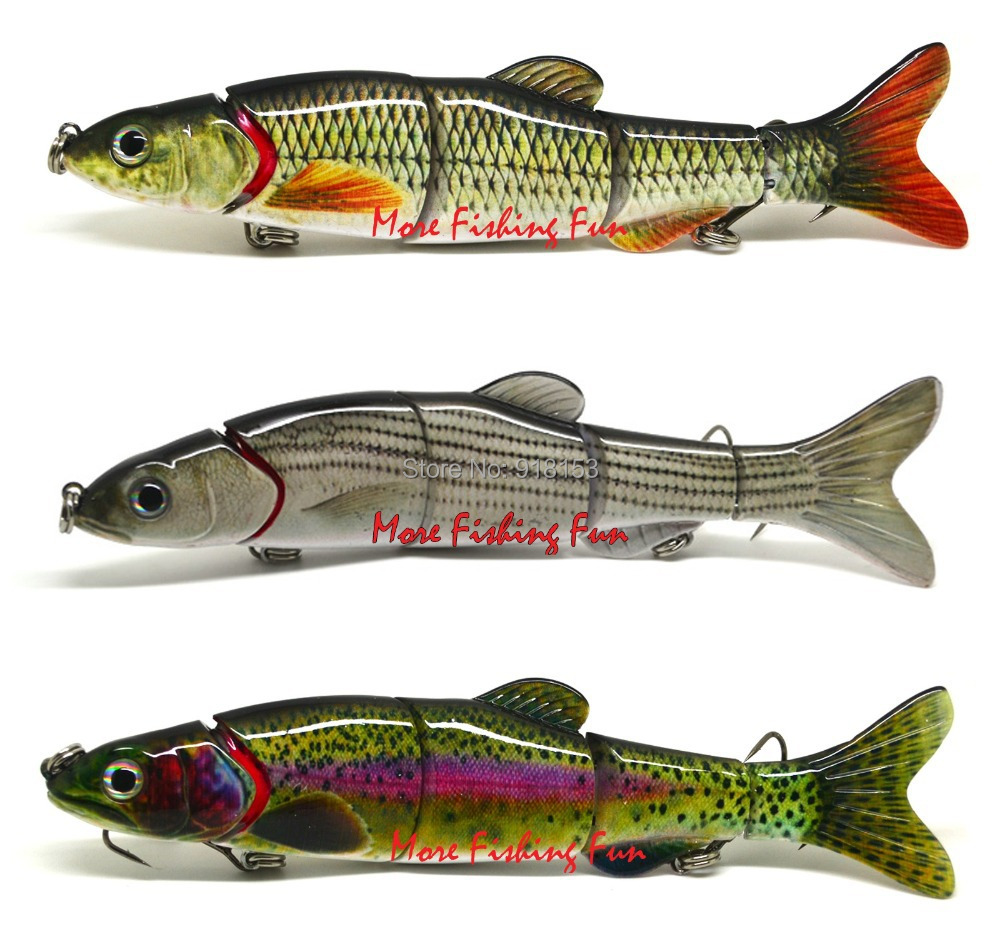 3pc bass pike fishing hard lure bait swimbait multi for Trout fishing lures