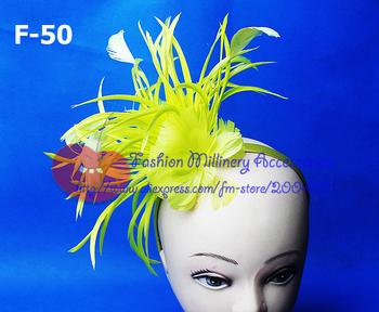 Free Shipping Customized Feather Fascinator Hat Sinamay Hat With Veil Headbank 60pcs/lot