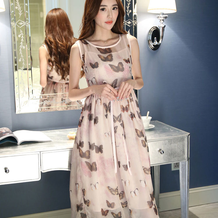 In the summer of 2015 the new butterfly print dress quietly elegant female show thin round collar short sleeve dress dress