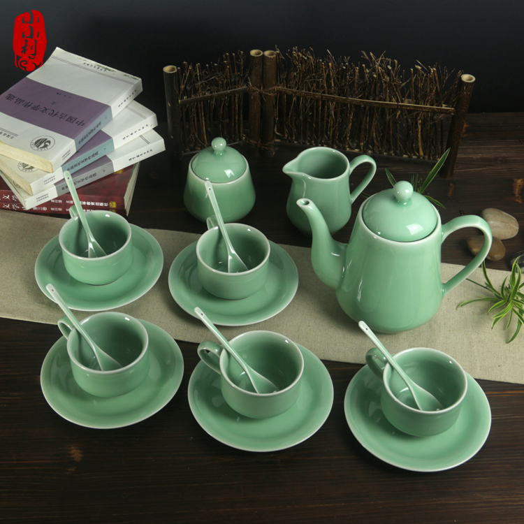 18 pieces High class celadon coffee sets tea sets European style teapot tea cup coffee cup