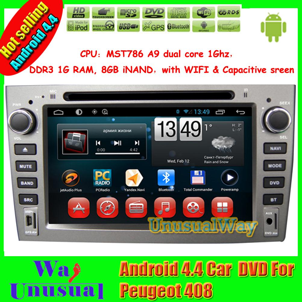 2015 Top Car Styling 7 inch 800*480 Android 4.4.4 Car DVD Player for Peugeot 408/308/308SW With GPS Bluetooth Free Map(China (Mainland))