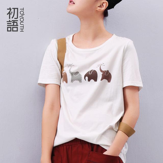 Toyouth Летние Женщин майка Слон Животных Отпечатано Свободные Коротким рукавом Harajuku Стиль Случайные Футболки Девушка Повседневная Топы