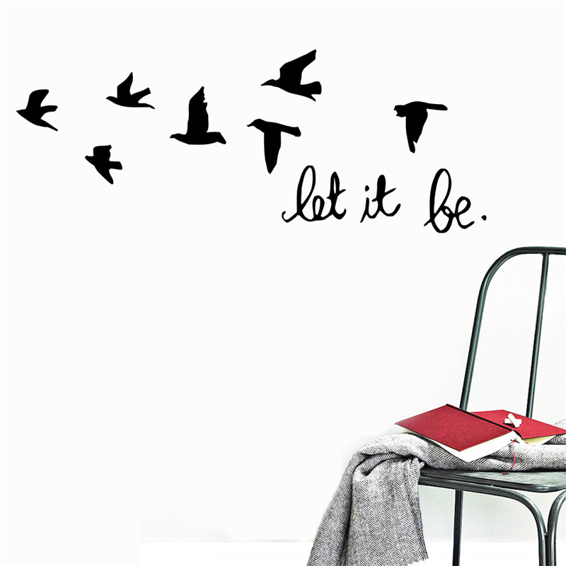 Home party kids room decoration Modren family wall stickers 8547Beautiful birds flies let it be in house beautiful free shipping(China (Mainland))