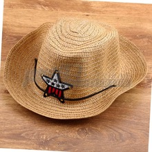 1pcs Children Straw Western Cowboy Sun Hat With a adjustable strap  Cap FreeShipping Brand New(China (Mainland))