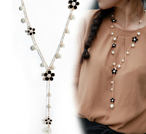 korean fashion style gold plated pearl white/black sun flower pendant necklace - Fascinating Jewelry store