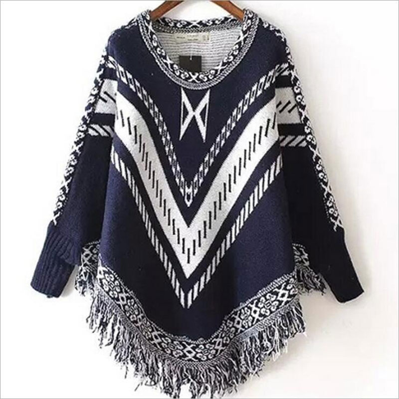 Women Autumn Winter Sweater Knitted Batwing Tassel Jumper Pullover Sweaters Knitwears Women Loose Capes Ponchos Womens Clothings(China (Mainland))