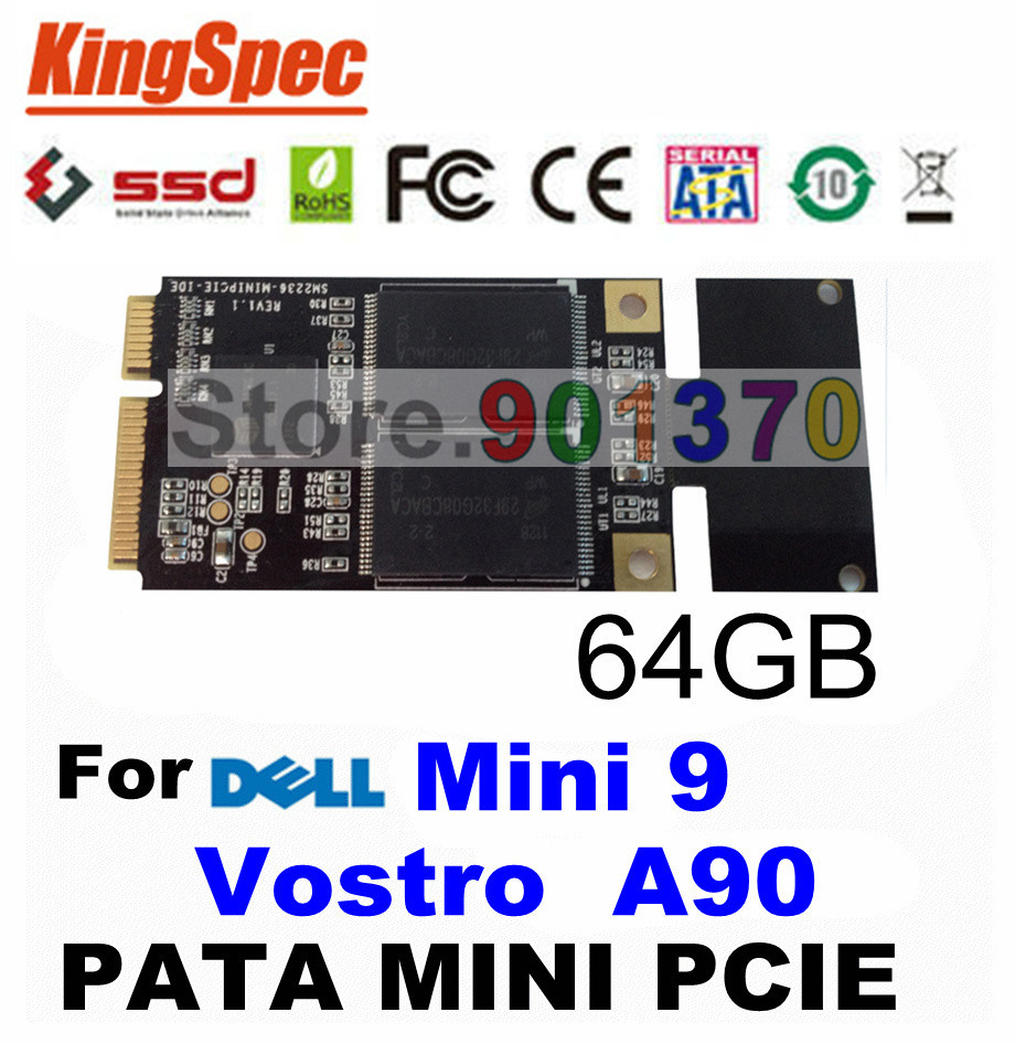 Kingspec PATA Mini PCIE IDE SSD 64GB 4-Channel HDD Disk SSD 64GB Solid State DriveS For Dell Mini 9, Vostro A90 ,For Dell SSD(China (Mainland))