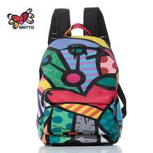 2016 Famous Fashion Backpack Graffiti Travel Bag New Design graffiti Style Retro Backpack & Shoulders Bag Youth Doodle Backpack(China (Mainland))