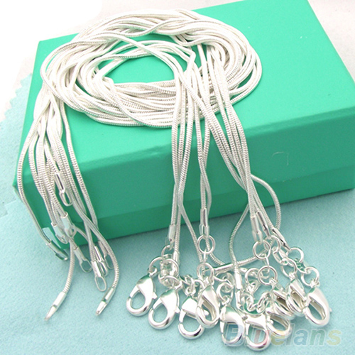 10pcs wholesale Silver Plated 1mm Snake Chain Necklace 16-24inch(China (Mainland))
