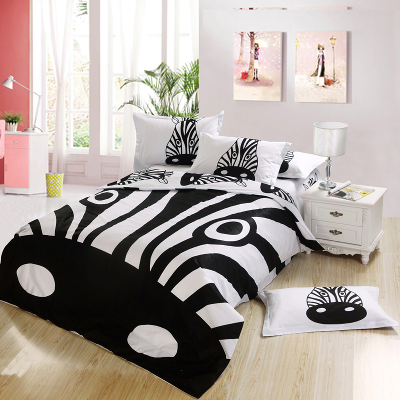 black and white zebra print kids bedding bedroom set king queen full twin size bed sheet. Black Bedroom Furniture Sets. Home Design Ideas