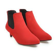 Meotina Kadın yarım çizmeler Orta Yüksek Topuklu kısa çizmeler 2018 Kış Sivri Burun Başak Topuklu Sonbahar Ayakkabı Üzerinde Kayma Yeşil Büyük Boy 46(China)