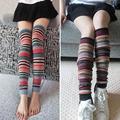 1 Pair Wool Socks Winter Girl Stripped Leg Sleeves Compression Winter Warm Leg Arthritis Injury Pads