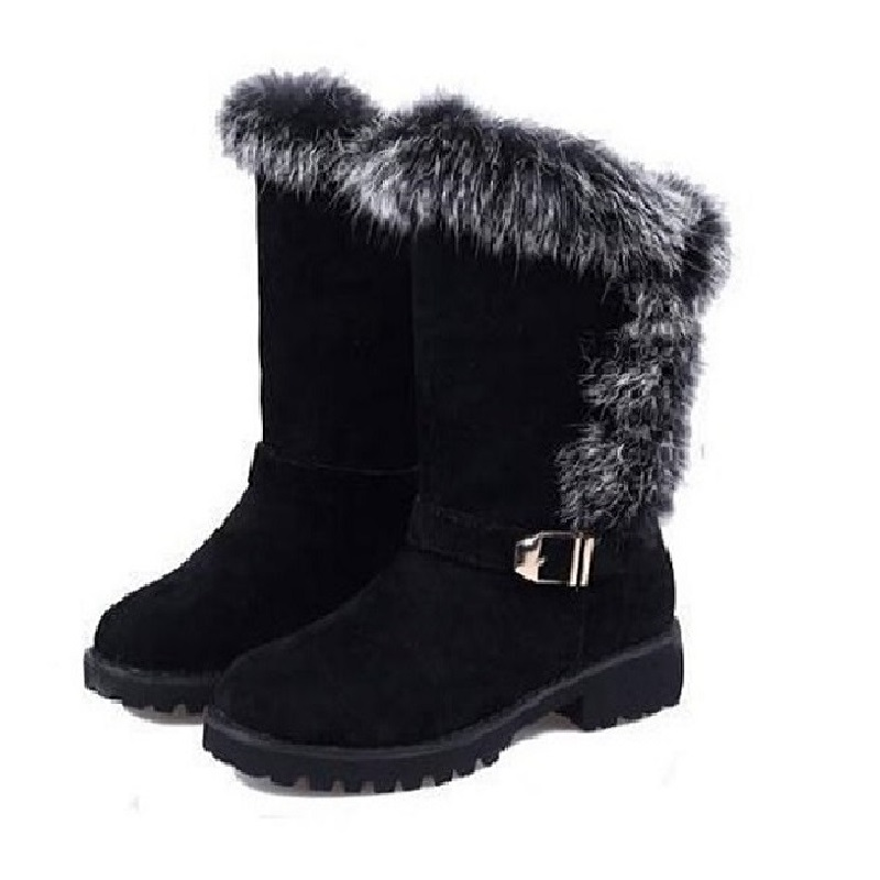 store product Cheap Black Ladies Winter Boots With Fur For Women Cute  New Designer Female Warm Rabbit