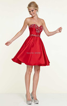 Noble Graceful A Line Sweetheart Sleeveless Beaded Applique Rhinestone Zipper Back Short Mini Cocktail Homecoming Dresses