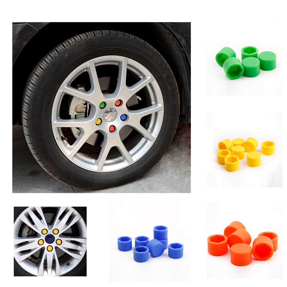 20Pcs 17mm Silicone Auto Motorcycle Car Wheel Nut Cover Lug Nut Caps Bolt Colorful Car Styling Interior Covers Accessories(China (Mainland))