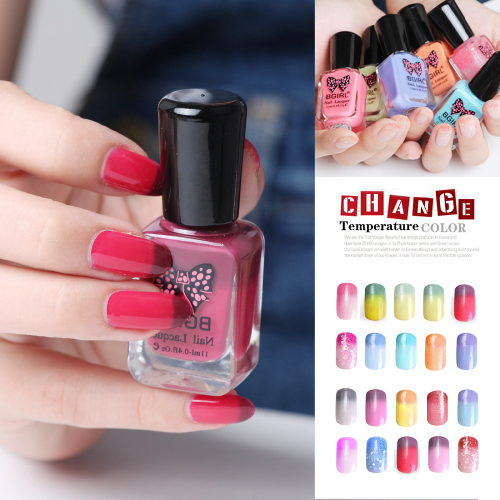 11ml Soak Off Nail Art Polish 12 Colors Non-toxic Water-based Chameleon smalto unghie varnishes Thermal Change vernis Lacquer<br><br>Aliexpress