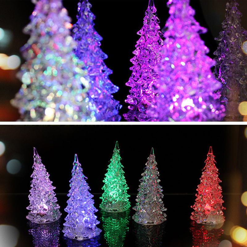 1Pc LED Battery Operated Colour Changing Desk Table Top Christmas Tree Decorations Light Festive Party Supplies(China (Mainland))