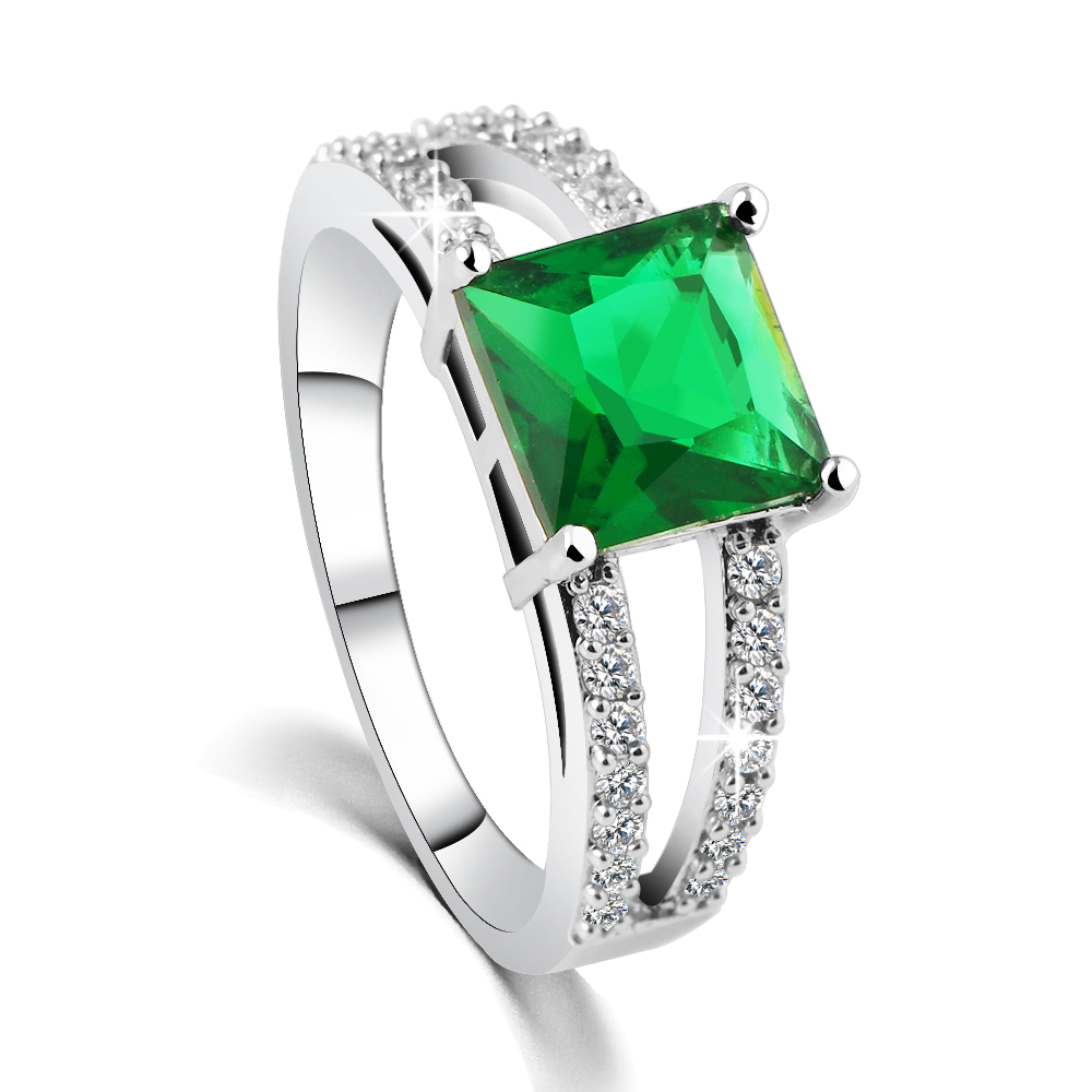 Trend crystal brief zircon ring fashion green gem finger ring pinky ring(China (Mainland))