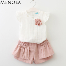 Buy Menoea Girls Clothing Sets 2017 Summer Style Children Sleeveless Clothes Sets Kids Flower White T-shirt + Solid Color Pants 2pcs for $8.01 in AliExpress store