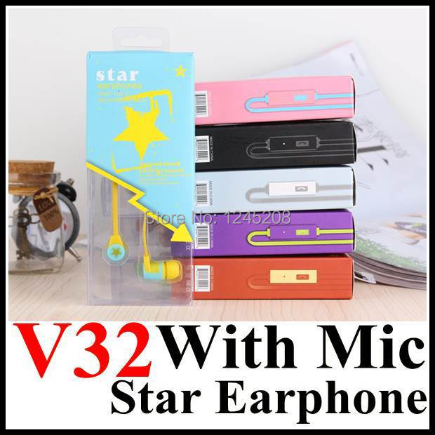 DIY Star V32 3.5 mm Stereo earphone In-Ear headset Headphone Earphones with Micphone For iPhone MP3 MP4 Player + Retail Box(China (Mainland))