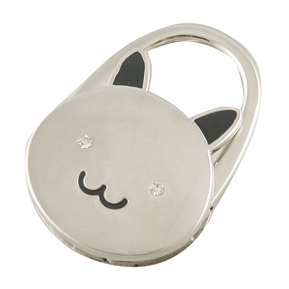 WSFS Wholesale Cat Cartoon Foldable Silver Tone Handbag Hook Antislip Rubber Base Best Selling(China (Mainland))