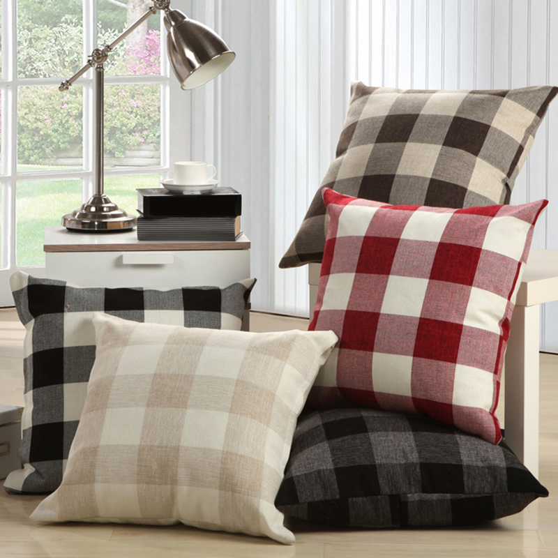 Decorative Linen Cushion Covers Black Red Plaid Throw Pillow Cover Square Mediterranean Style Office Sofa Decor 55x55cm/45x45cm(China (Mainland))