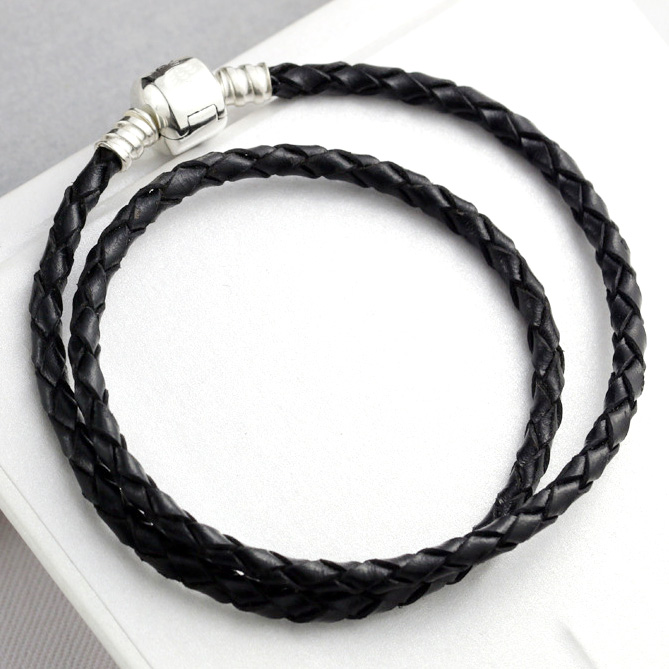 Double Circle 925 Sterling Silver Anklets Genuine leather Snake Chain Anklets Bracelet For Women Wedding Party Gift Fine Jewelry(China (Mainland))