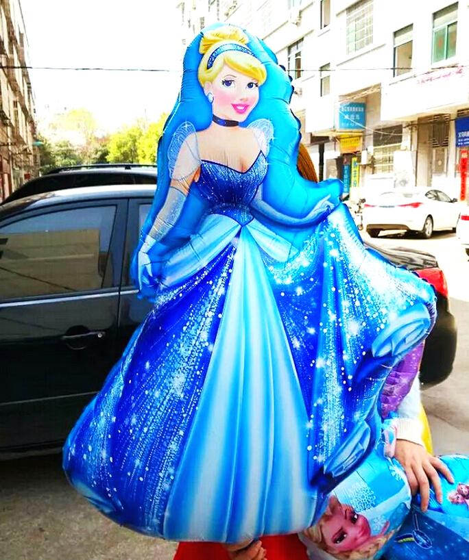 1pcs/lot 94*55cm giant size belle princess globos Cinderella balloons party supplies birthday gift baby girl baloon(China (Mainland))