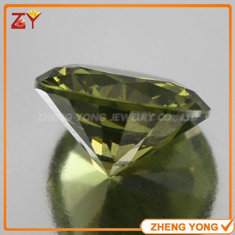 Wholesale Semi Precious Stone Round Cut 7.5mm Synthetic Peridot CZ Gemstone<br><br>Aliexpress