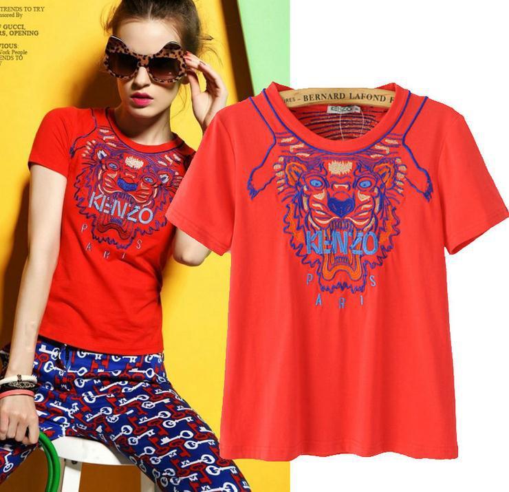 European style T-Shirt Fashion Wild Tiger Embroidered Cotton T-shirt W1493(China (Mainland))