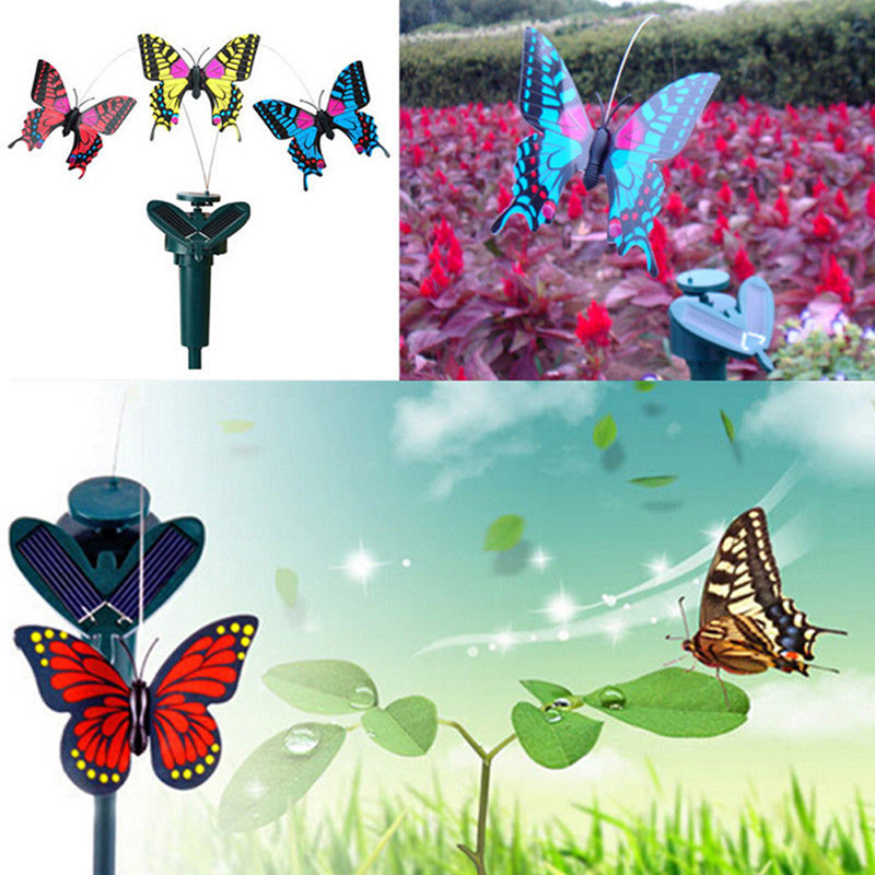 Flying Butterfly Vibration Solar Power Dancing Flying Fluttering Butterflies Garden Ornaments Decoration(China (Mainland))