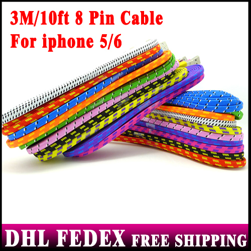 DHL Free 100pcs/lot 3M 10ft 8pin Noodle Braided USB Charging Nylon Cable For iphone 6 6s 5 5s 4 IOS 8 7.1.2(China (Mainland))