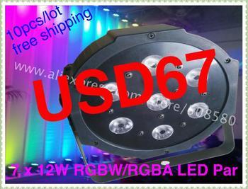 10pcs/lot,7pcs x 15W RGBAW Tint 5 in 1 Flat LED Par Lights With DMX512 Master-Slave Stand,Megar Par Can