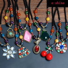 2016 new National Trend Vintage Bohemia style necklace cherry  Pendants Unique Biloux Colliers Long Necklace charm beads chain(China (Mainland))