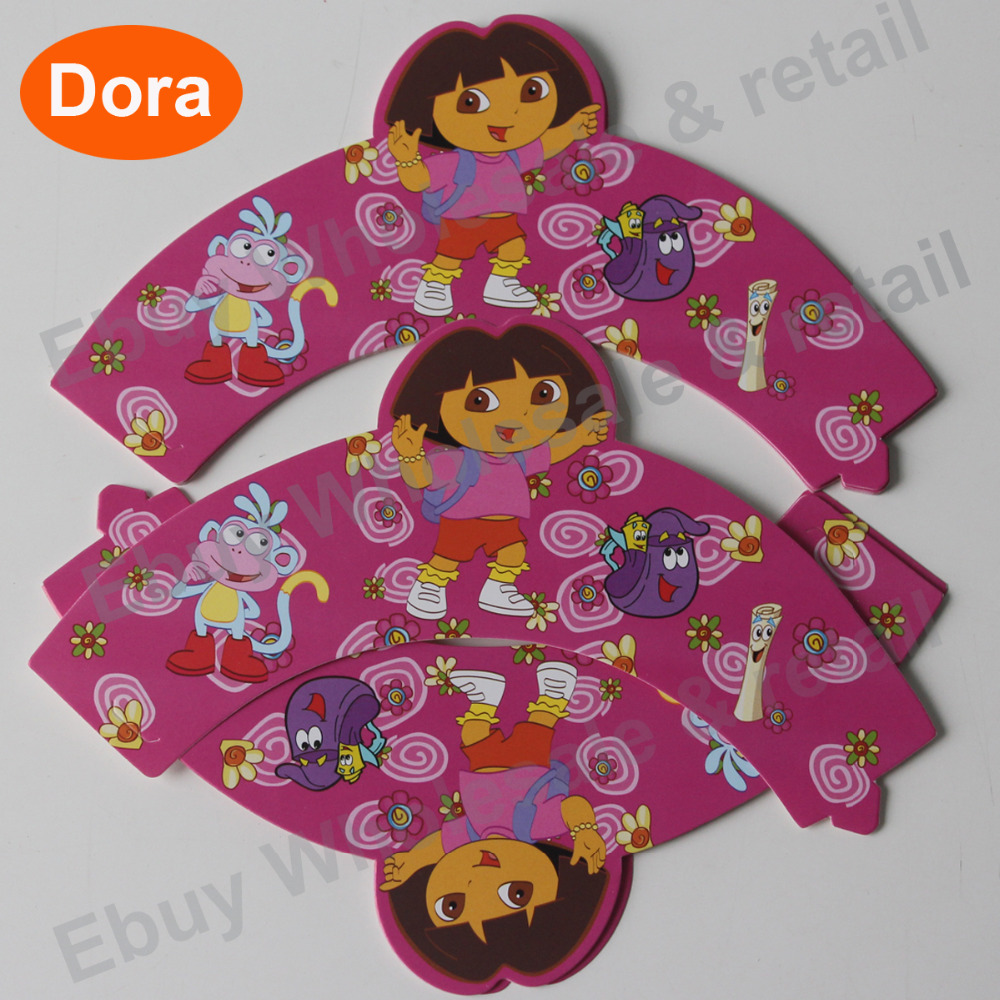 Dora the explorer cupcake wrappers toppers cake picks birthday party decorations favors kids girl wedding cakecup wrapper(China (Mainland))