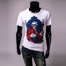 2016 New Hot 3D skeleton musician printing personalized round neck short sleeve t-shirt men Specials TS232