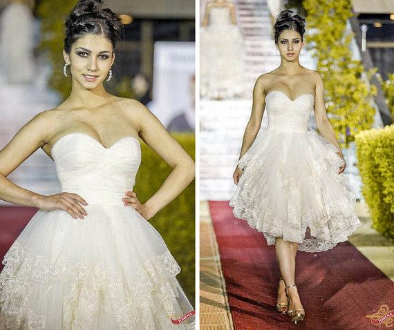 Short Wedding Dress louisvuigon 2016 Lace Short Gown Bridal Gowns Beach Garden Wedding Party Wear vestido de noiva(China (Mainland))