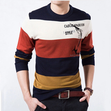 High Quality warm Autumn Striped Sweater Men Brand 2016 O-Neck Mens Sweaters Casual Print Pullover Men Homme sweater(China (Mainland))